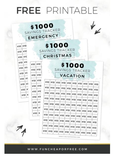 $1000 savings tracker printable with bluish top