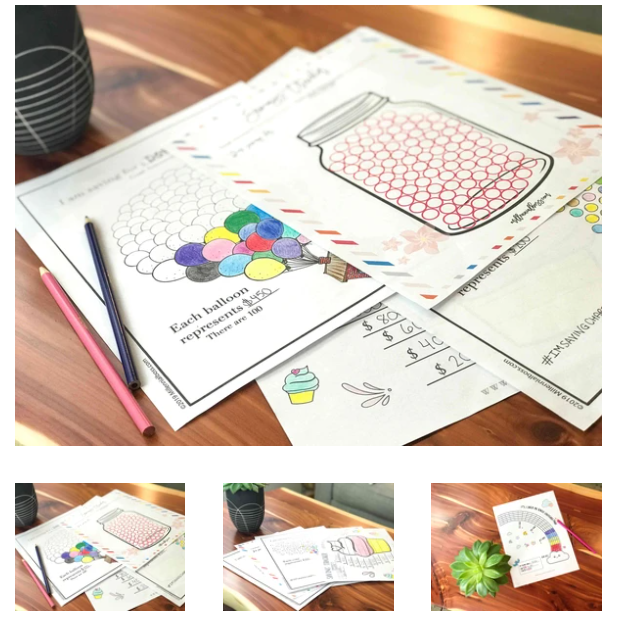 several different money saving tracker pdf designs - like a rainbow and balloons
