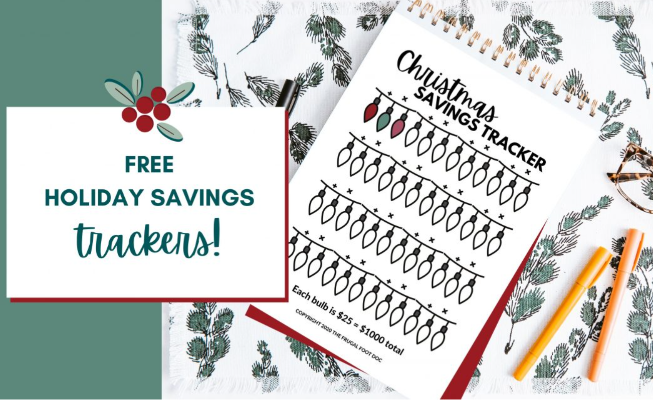 Christmas savings goal tracker with little Christmas bulbs to color in
