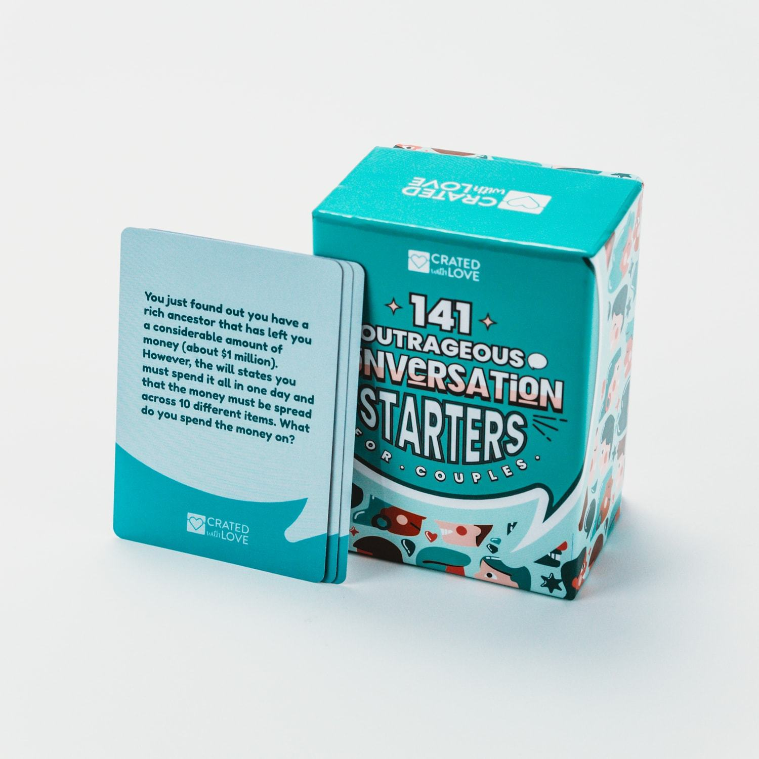 teal-colored deck of 141 outrageous conversation starters for couples