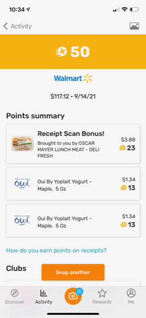 showing Walmart 9/14/2021 shopping trip with 50 points earned