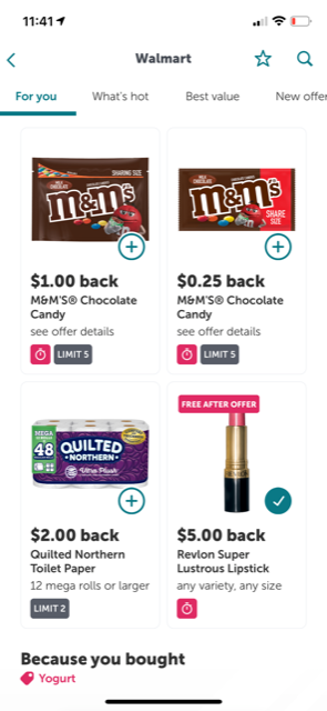 four offers from walmart on ibotta, including $1.00 back for M&Ms and free after offer Revlon lipstick