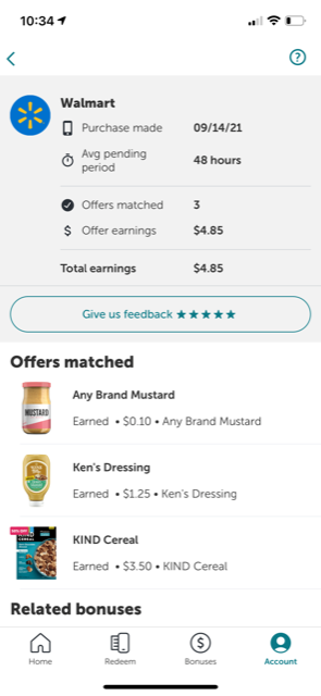 shows Walmart shopping trip on 9/14/2021 with $4.85 earnings in cashback