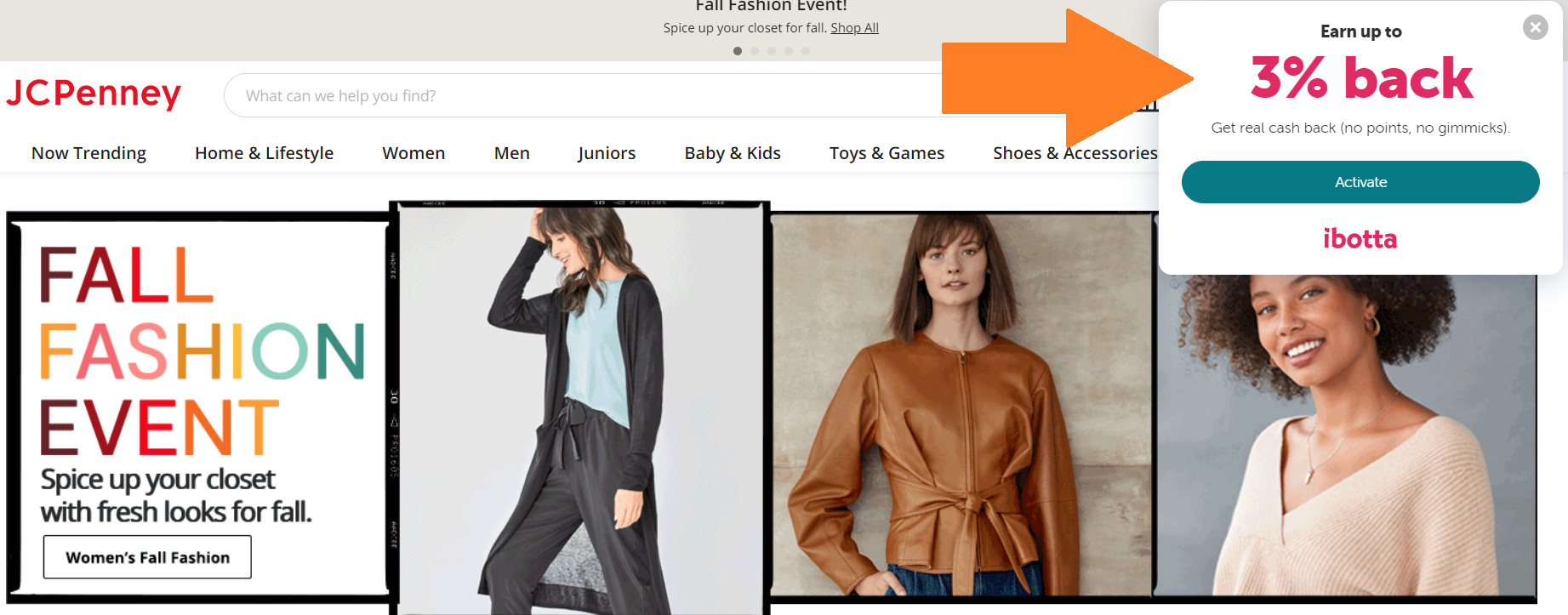 JCPenny homepage with ibotta offer on righthand corner for 3% cashback, you need to click to activate