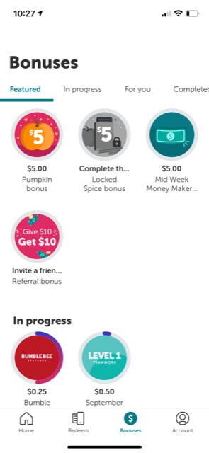 ibotta bonus offer examples like $5.00 pumpkin bonus, or $5.00 mid week bonus