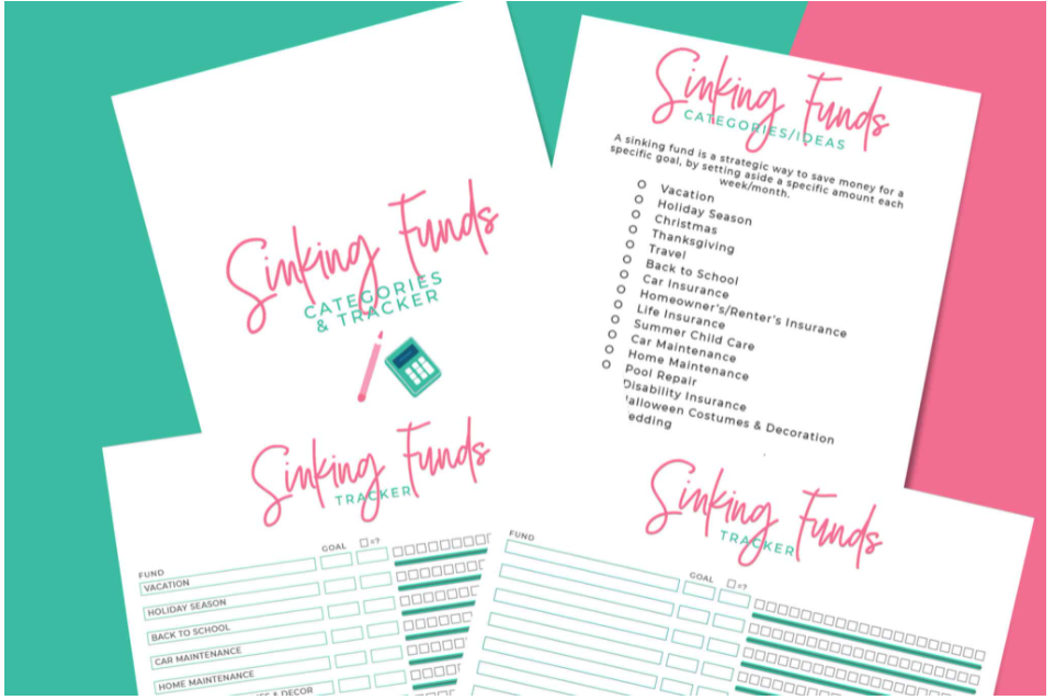 landscape printable for sinking funds tracking, multiple goals, in teal and pink