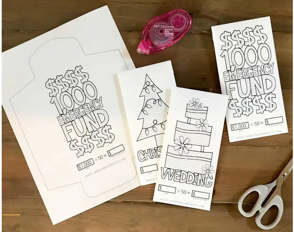 printable envelopes with sinking fund trackers on outside for a wedding fund, emergency fund, Christmas, etc.