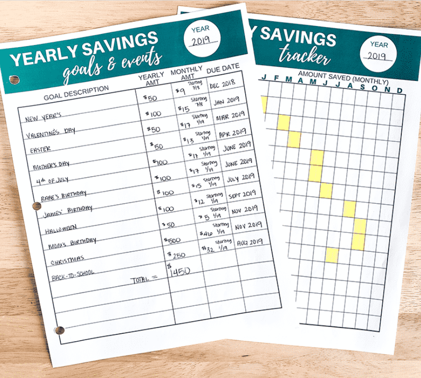 yearly sinking funds tracker printables on wooden desk background